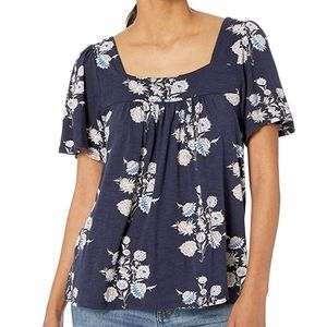Lucky Brand Printed Square Neck Top